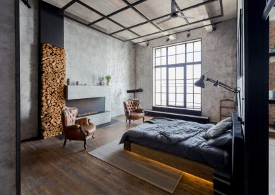 Loft Bedroom fireplace
